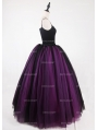 Black and Fuchsia Gothic Ball Gown Tulle Long Maxi Skirt