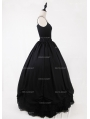 Black Gothic Chiffon and Lace Ankle Length Skirt
