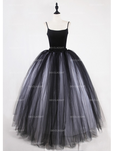 Black and White Gothic Ball Gown Tulle Long Maxi Skirt