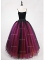 Black Multicolor Gothic Ball Gown Tulle Long Maxi Skirt