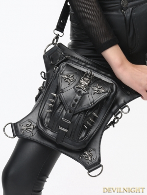 Black Gothic Punk Steampunk Skull PU Leather Waist Shoulder Messenger Bag