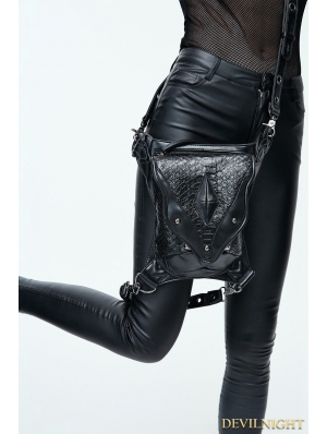 Black Gothic Steampunk PU Leather Waist Shoulder Messenger Bag