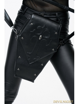 Black Gothic Women PU Leather Travel Cross-body Shoulder Bags