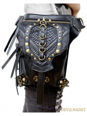 Black Gothic Punk Chain Cross-body Unisex Motorcycle Waist Shoulder Messenger Bag