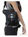 Black Gothic Punk Steampunk Rivets Cross-body Waist Shoulder Messenger Bag