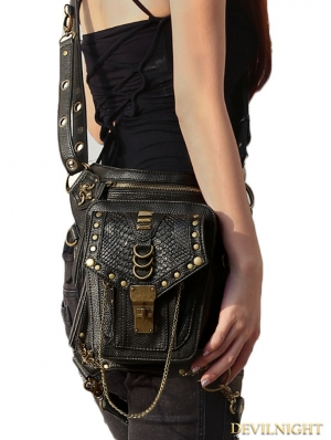 Black Vintage Gothic Cross-body Waist Shoulder Messenger Bag