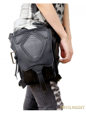 Black Gothic Punk Cross-body Travel Waist Shoulder Messenger Bag