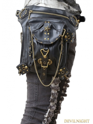 Vintage Gothic Steampunk Gold Chain Waist Shoulder Messenger Bag