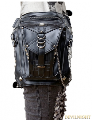 Black Gothic Chain Waist Shoulder Messenger Bag Pack