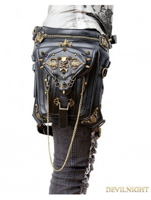Gothic Cyberpunk Steampunk Skull Waist Shoulder Messenger Bag