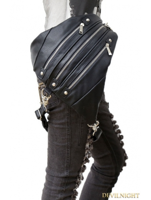 Black Gothic Punk PU Leather Waist Triangle Leg Backpack Bag