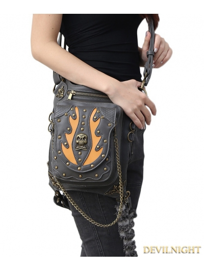 Black Gothic Punk Steampunk Skull Rivet Waist Shoulder Messenger Bag