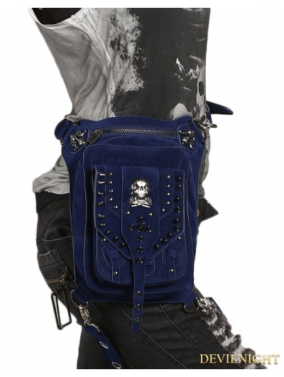 Blue Gothic Punk Skull Rivets Cross-body Waist Shoulder Messenger Bag