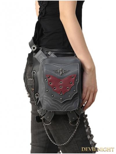 Gothic Steampunk Bat Rivet Travel Waist Shoulder Bags with Phone Pocket
