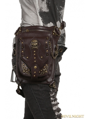 Brown Gothic Steampunk Skull Cross-body Waist Shoulder Messenger Bag