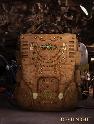 Brown Vintage Steampunk Large Capacity Travel Shoulder Backpack Bag