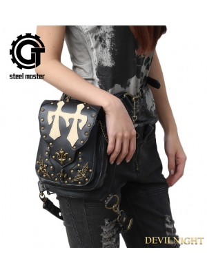 Black Vintage Gothic Cross-body PU Leather Waist Shoulder Messenger Bag