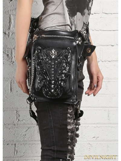 Black Gothic Punk Cross-body Unisex Motorcycle Waist Shoulder Messenger Bag