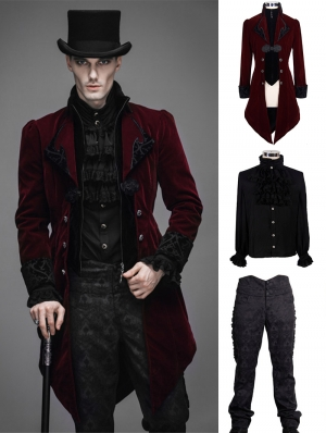 Red Vintage Gothic Swallow Tail Suit for Men