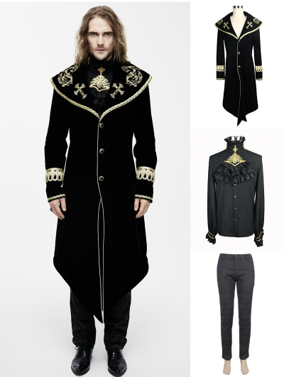 Black and Gold Gothic Velvet Palace Style Suit for Men
