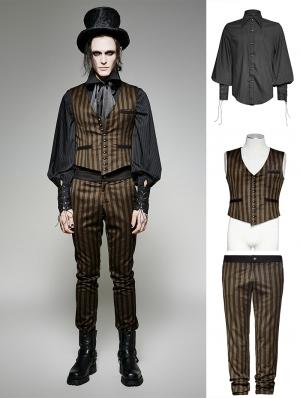 Brown Stripe Vintage Steampunk Suit for Men