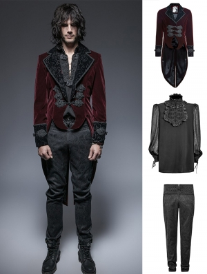 Wine Red Gothic Gentle Suit for Men
