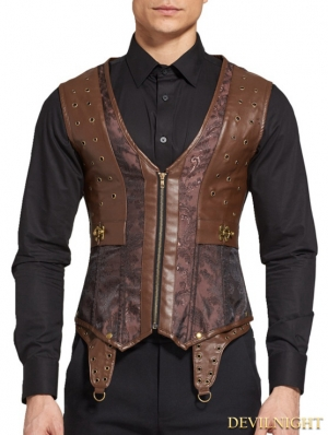 Brown Jacquard Steampunk Corset Waistcoat for Men