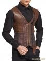 Brown Jacquard Steampunk Corset Waistcoat for Men