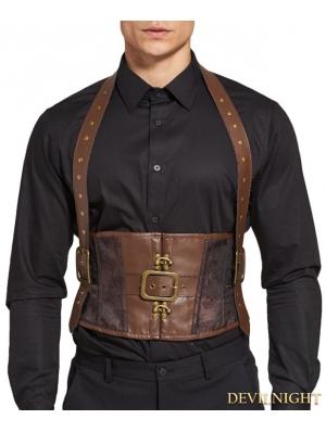 Brown Jacquard Steampunk Halter Belt Corset Vest for Men