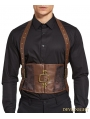Brown Jacquard Steampunk Halter Belt Corset Vest for Men