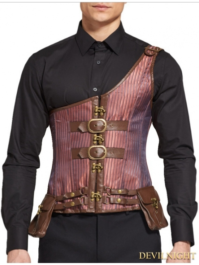 Brown Steampunk Stripe Brocade Corset Vest with Pocket