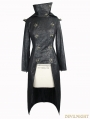 Black Leather Gothic Punk Military Coat for Women