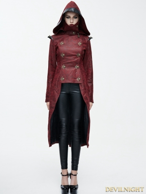 Red Leather Gothic Punk Military Coat for Women