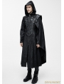 Black Leather Gothic Military Cloak Coat for Men