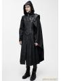 Black Leather Gothic Military Cloak Coat for Men