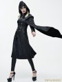 Black Leather Gothic Military Cloak Coat for Women