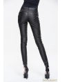 Black and Bronze Leather Gothic Punk Rivets Pants for Women