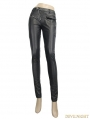 Black Leather Gothic Punk Rivets Pants for Women