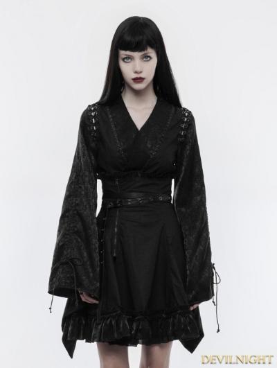 Black Gothic Japanese Jacquard Kimono Top for Women