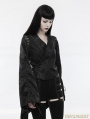 Black Gothic Japanese Jacquard Kimono Top for Women