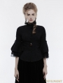 Black Gothic Cropped Sleeves Shirt for Women