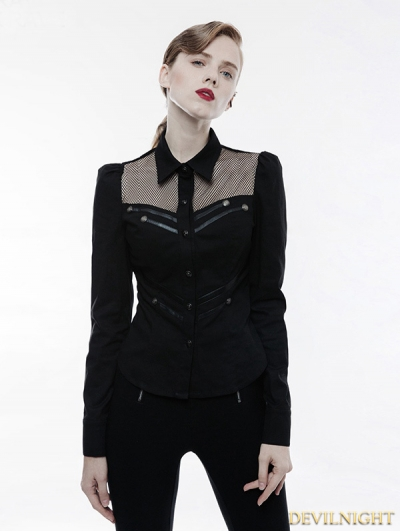 Black Gothic Handsome Punk Military Shirt for Women