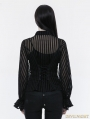Black Gothic Steampunk transparent Striped Shirt for Women