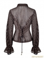 Coffee Gothic Steampunk transparent Striped Shirt for Women