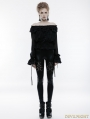 Black Gothic Gorgeous Off-the-Shoulder Long Sleeves T-Shirt for Women