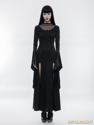 Black Gothic Gorgeous Lace Split Dress