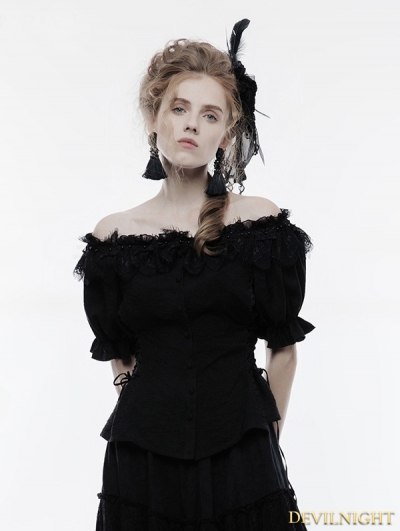 Black Gothic Lolita Sweet Shirt for Women