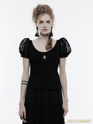 Black Steampunk Brooch Short Sleeve T-Shirt for Women