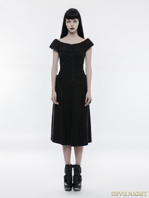 Black Gothic Punk Off-the-Shoulder Slim Dress