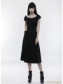 Black Gothic Punk Off-the-Shoulder Slim Dress